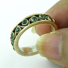 925 STERLING SILVER LOVELY RING EMERALD AGATE STONE JEWELRY S.8 US SIZABLE R2089 #SilvexImagesIndiaPvtLtd #Statement