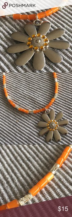 NWT Handmade one of a kind necklace Orange with silver flower pendant Jewelry Necklaces
