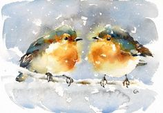 Winter Birdies Watercolor