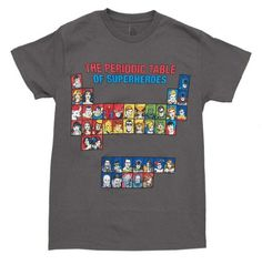 DC Comics Periodic Table Of Super Heroes Men's T Shirt - http://bandshirts.org/product/dc-comics-periodic-table-of-super-heroes-mens-t-shirt/