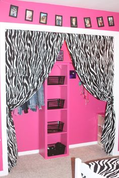 A picture from her room for color and inspiration. :) Her favorite color is Pink and she loves zebra print. Zebra Print Bedroom, Zebra Bedding, Zebra Bedrooms, Zebra Curtains, My New Room, My Room, Girls Bedroom, Bedroom Decor, Bedroom Ideas