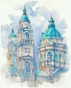 art acuarela xtina_gavrilova_art Tag your friend who loves art arch_collector for inspirational design Tag Architecture Concept Drawings, Watercolor Architecture, Architecture Sketchbook, Art Sketchbook, Architecture Art, Watercolor Drawing, Watercolor Landscape, Watercolor Illustration, Watercolor Inspiration