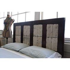 Dark wood door headboard. Room inspiration