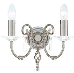 The Aegean Two Arm Polished Nickel Wall Light with Cut Glass Droplets and Sconces. Elstead Lighting AG2 PN