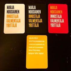 Korttipeliä! Uudet käyntikortit Moo.comista. Minkä sä haluaisit? Kolme erilaista etupuolta - jaan eri värejä fiiliksen ja mieltymysten mukaan. #työonleikkiä #yrittäjä #futuremarja #käyntikortti #moo