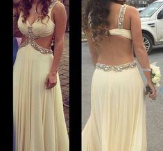 Pd60716 High Quality Prom Dress,Chiffon Prom Dress,A-Line Prom Dress,Beading Prom Dress, Backless Evening Dress