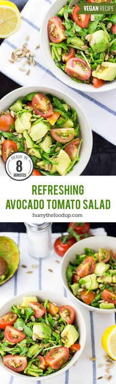 Refreshing Avocado Tomato Salad (8 mins) #salad #vegan #avocado | hurrythefoodup.com