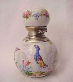 French Bird Motif Hand Painted Porcelain and Silver Scent Bottle - from richardwbell on Ruby Lane