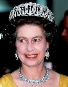 1967, HM wearing the Vlad tiara with pearls