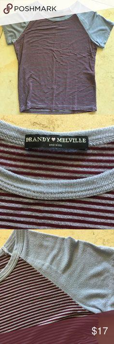 Brandy Melville maroon and grey t shirt Cute grey and maroon striped Brandy Melville t shirt Brandy Melville Tops Tees - Short Sleeve