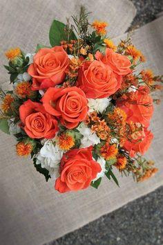 Beautiful Flower Arrangements, Floral Arrangements, Beautiful Flowers, Wax Flowers, Flower Petals, Fall Wedding Bouquets, Wedding Flowers, Orange Wedding Colors, Fleur Orange
