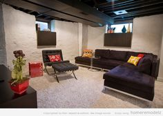 basement with painted cinderblock walls and ceiling | Wonderful basement pictures Modern basement waterproofing – Home ...