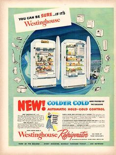 1949 Westinghouse Refrigerator Original Home and Office Print Ad - TnTCollectibles