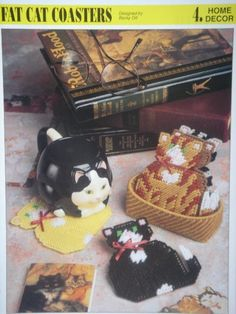 Plastic Canvas Cat Patterns Free | FAT CAT COASTERS plastic canvas PATTERN with Calico Cat, Black and ...