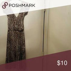 New York and Company Leopard Print Dress Lightweight deep v-neck Leopard Print dress New York & Company Dresses