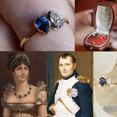 Engagement ring which emperor gave to wife Josephine goes up for auction. The ring comprises two tear-shaped gems, one diamond and one sapphire, set onto a gold band. It was in the collection of the emperor's grandson, Napoleon III, and wife Empress Eugénie, and then their descendants. The ring dates back to 1796.