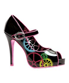 Another great find on #zulily! Black & Pink Gear Pump by Ellie Shoes #zulilyfinds