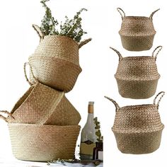 BUY now 4 XMAS n NY! S/M/L Seagrass Wickerwork Basket Rattan Foldable Hanging Flower Pot Planter Woven Dirty Laundry Hamper Storage Basket Home Decor ** Detailed information can be found on AliExpress website by clicking on the image Laundry Basket Storage, Laundry Hamper, Storage Baskets, Kitchen Storage, Bathroom Baskets, Hanging Flower Pots, Rattan Basket, Basket Weaving, Decoration