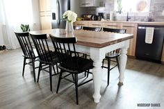 Get the free plans and tutorial for how to build a DIY Farmhouse Dining Table with gorgeous turned legs and the perfect touch of distress! table farmhouse DIY Farmhouse Dining Table --Free Plans and Tutorial Diy Dining Room Table, Dining Table Legs, Wooden Dining Tables, Dining Chairs, Wooden Table Diy, Diy Outdoor Table, Diy Wood, Build A Farmhouse Table, Build A Table
