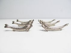 Vintage 6 French Knife Rests in the shape of a fish or chinese dragon, silver metal fish knife rest dining dinner table chopstick knife rest by EbyVintage on Etsy