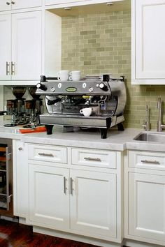 To heck with the fancy coffee bar - I want that beautiful tile backsplash by Heath Ceramics!