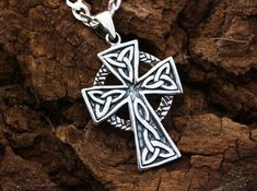 Check out our mens celtic cross necklace selection for the very best in unique or custom, handmade pieces from our pendants shops. Mens Celtic Cross Necklace, Mens Chain Necklace, Mens Silver Necklace, Knot Necklace, Irish Jewelry, Chains For Men, Sterling Silver Cross, Selling Jewelry, Boho