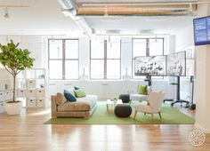 Dazzling Office Redesign at Dashlane - Dashlane's space extends virtually across the ocean with screen links to their European office. - @Homepolish New York City