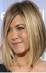 Jennifer Aniston assymetrical long bob - for when I actually have energy to do my hair everyday.