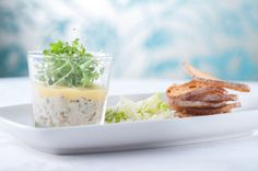 Potted Brixham crab and prawns, fennel and apple salad, toasted sour dough Fennel And Apple Salad, Dartmoor, Prawn, Fine Dining, Panna Cotta, Toast, Ethnic Recipes, Food, Dulce De Leche