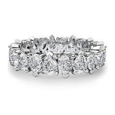 Pear Eternity Band 3.00 Carat Pear Shape Diamond Wedding Ring 18k White Gold #DiamondsByElizabeth #EternityBand