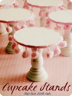 DIY Mini Cupcake / Cake Stands w/ Pom Pom Trim #cuteasabutton