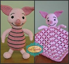 Inspired by Piglet from Winnie the Pooh, this pattern offers the option of making a stuffie or a lovie blanket. It is wrong to say I love his face so much I could eat his cheeks?
