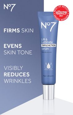 Lift & Luminate Triple Action Serum is clinically proven to deliver 3 anti-aging results, wrinkles appear reduced, skin feels firmer and skin tone appears more even. Beauty Care, Beauty Skin, Beauty Tips, Beauty Ideas, Beauty Secrets, Beauty Hacks, Beauty Makeup, Glowy Makeup, Ageless Beauty