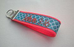 Key Fob Key FOB / KeyChain / Wristlet    Monogrammed  by Laa766  preppy / fabric / cute / patterns / key chain / keychain / badge / key leash / gifts / personalized / designer / car / school / key ring