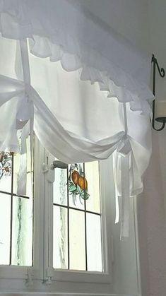 "Raffrollo Shabby ""La Vague II"" Vorhang x 120 cm Landhaus in . - Lorena Mauries - - Raffrollo Shabby ""La Vague II"" Vorhang x 120 cm Landhaus in . Shabby Chic Kitchen Curtains, Home Curtains, Curtains With Blinds, Shabby Chic Homes, Shabby Chic Decor, Wood Blinds, Valance Curtains, Rideaux Shabby Chic, Rideaux Design"