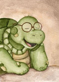 School Portrait Day - Cute Laughing Turtle via Etsy.