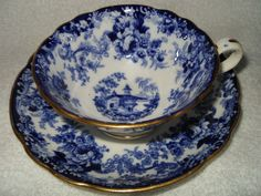 Beautiful Antique Mintons Tea Cup Saucer c1800's Monks Rock Blue and White | eBay