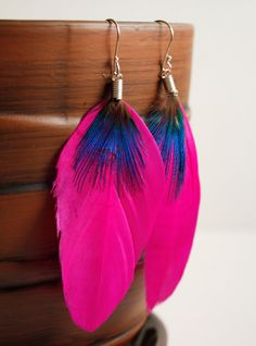 Hot Pink Feather Earrings  Bright Pink Navy Blue  by iheartboho, $12.00