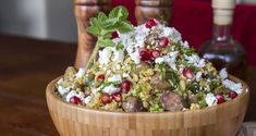 Bulgur Salad by greek chef Akis. The best and healthier salad recipe with bulgur, feta cheese, chestnuts and pomegranate. Sprinkle with some fresh oregano and mint.
