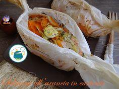 Salmone al cartoccio con verdure all'arancia