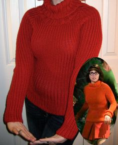 Knitting Pattern for Velma Sweater - Suss Cousins is a knitwear costume designer for movies. This pattern is the actual design for Velma's swearter in the Scooby Doo movie. This is one of the designs in her book Hollywood Knits: Thirty Original Suss Designs Pictured project twiggyr