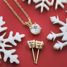 Yellow Gold Gift Set! 1.0ct diamond basket pendant with 1.0ctw diamond earrings