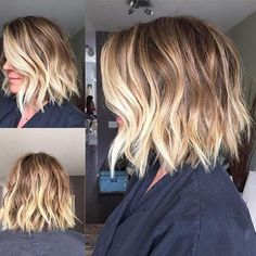 Choppy Light Brown Bob Haircut + Blonde Balayage Highlights