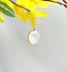 Vermeil Bezel Moonstone Pendant & Gold Filled by PiecesByEmily, $34.00