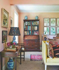 Living room of the Parsonage-Architect and Interior Designer Ben Pentreath. Featuring Parsonage pink walls