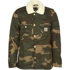 Carhartt Contrast Collar Camouflage Bomber Jacket ($215) ❤ liked on Polyvore featuring men's fashion, men's clothing, men's outerwear, men's jackets, camo laurel, mens camo jacket, carhartt mens jacket and mens camouflage jacket