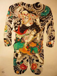 tattoos in japanese prints Backpiece Tattoo, Tattoos Skull, Irezumi Tattoos, Tribal Tattoos, Tengu Tattoo, Tebori Tattoo, Dragon Japanese Tattoo, Japanese Tattoo Art, Japanese Sleeve Tattoos
