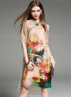 Dresses - $56.72 - Silk Jute Floral Half Sleeve Knee-Length Elegant Dresses (1955126896)