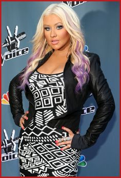 "Christina Aguilera debuting a new look with her hair: long blonde hair with a touch of purple on the tips as she made an appearance for ""The Voice"" press junket and cocktail reception in Los Angeles"