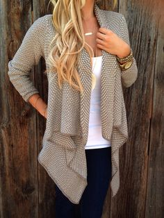 Perfect open sweater cardigan with skinny jeans and a white tee or tank for fall